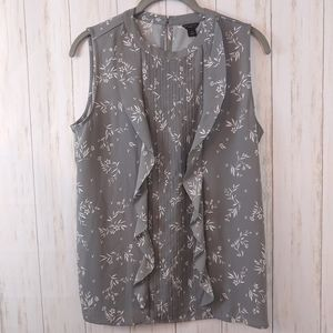 ANN TAYLOR Petite Sleeveless Floral Blouse Medium